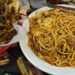 2 way (spaghetti with chili and cheese on top) and Spanish Fries
