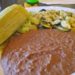 Green Corn Tamale, Refried Beans, Calabacitas