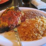 Chile Relleno, Refried Beans, Rice