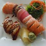 Dragon Roll, Seaweed Salad and Unagi Sushi