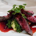 Tasmanian Wallaby fillets with Spring Onion Mash, Beetroot, Red Wine and Native Pepperberry Sauc