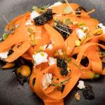 Elements of carrot, sheep's feta, pistachio,sesame brittle, truffle honey (V/GF)