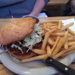 Fried buttermilk chicken and pulled pork sandwich