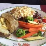 Steak Neptune, baked potato and veggies, Bold Knight Restaurant, Nanaimo, BC