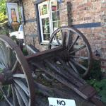 Antique set of wheels, steel rimmed wood, Crown and Anchor Pub, Bowser, BC