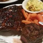 Top Sirlion, Hickory Smoked Ribs, Sweet Carrots & Broccoli and Cheese Casserole
