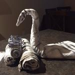 Cute swan decoration out of towels in kitchen reminded me of Cuban vacations, Ocean Sands Resort