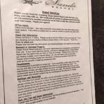 In room information sheet, Ocean Sands Resort, Parksville, BC