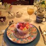 Beautifully set breakfast table.