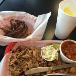 Brisket and pulled pork combo, two sides.