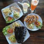 ribs salmon and prawns