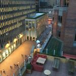View from covered rooftop bar to open area (closed at the time) and to 47th St