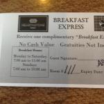 Breakfast voucher has different time than what we were allowed!