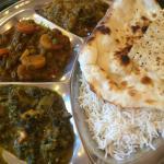 Vegetarian Thali 9$: spinach, mixed vegetable, eggplant.