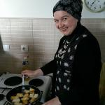Majda preparing a local specialty for breakfast!