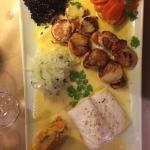 St Jacques, fish, black rice and pumpkin purée