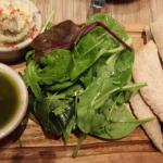 Chunky pesto with butterbean, rosemary & lemon dip and pitta bread.