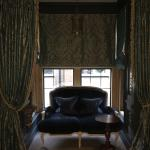 The little seating alcove was draped with heavy silk drape helping with sound & light in the mor