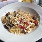 Linguini Alla Greca: Fresh linguini with sun dried tomatoes, kalamata olives, caramelized onions