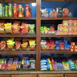 Fully stocked snack bar:  Ravioli, Raman noodles, etc
