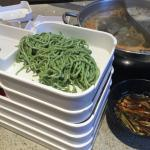 Spinach noodles, great selection on sauce, all you can drink beverages