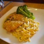 Lemon Caper Chicken with Alfredo Fettuccini