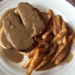 Carol's meatloaf sandwich with French fries and gravy!
