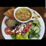 Lemon Chicken Soup and Greek Salad Combo