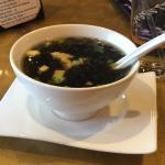 Shari Soup, Clear savory broth with seaweed, soft tofu, and bean thread noodles