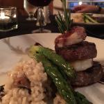 Beef tenderloin and fresh gulf shrimp.
