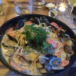 Seafood linguine: heaps of perfectly cooked seafood and pasta.