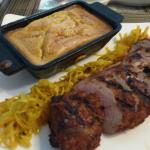 Pork Tenderloin with slaw & bread pudding
