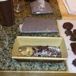 chocolate bar, tempered chocolate, and dipped goodies at the end of the experience