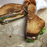 Club sandwich, no tomato, with bruschetta chips