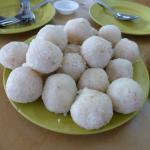 Chicken rice rolled into balls