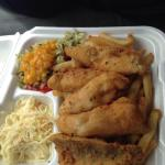 Battered perch dinner