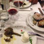 Entrees. Bruschetta with quial egg, and artichoke with buffalo mozzarella