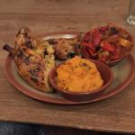 1/2 peri-peri chicken with sweet potato mash and roasted vegetables