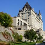 View of Fairmont Château Laurier from Rideau Canal Locks in fall
