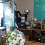 Coffee machine behind the counter