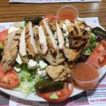 Large Greek salad with grilled chicken