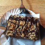 Date Square drizzled with chocolat