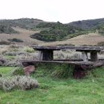 Rustic picnic table with the beautiful view