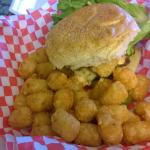 Angus beef burger with tater tots!