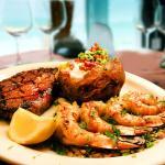 Steak and Shrimp Combo:  A tender hand-cut steak, along side 4 succulent grilled shrimp.
