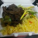 Beef and yellow rice with mango salad is a good combo to try.