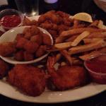 Shellfish combo with okra and fries.