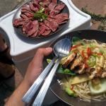 Ramen noodles and chicken. Seared rare steak
