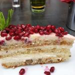 Bulgarian carrot cake with pomegranate topping