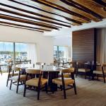 The main dining room overlooking Newport's harbor.